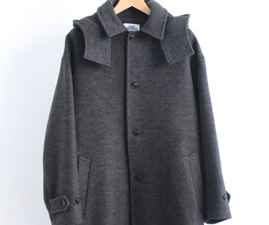 Hooded Wool Coat (Charcoal)