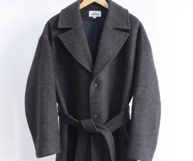 Belted Wool Coat (Charcoal)